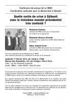 Quelle sortie de crise à Djibouti avec le troisième mandat présidentiel très contesté ? Conférence de presse de la CNDD le 17/02/2012