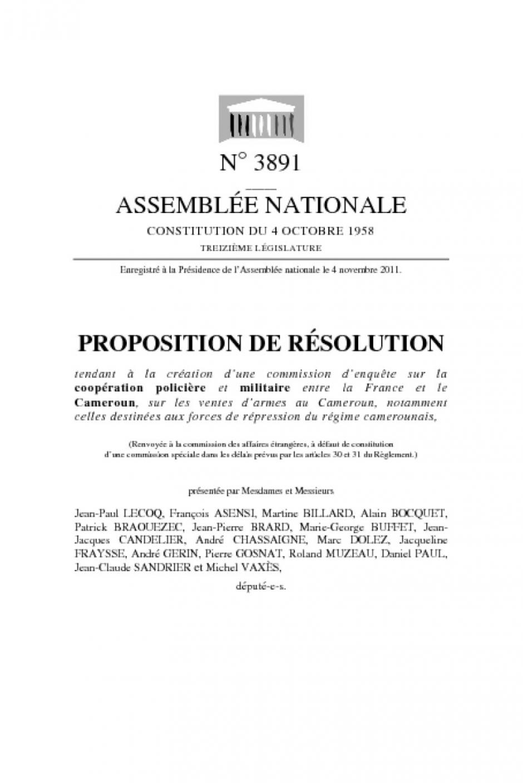 Assemblée nationale : Proposition de résolution de M. Jean-Paul LECOQ, député communiste, tendant à la création d'une commission d'enquête sur la coopération policière et militaire entre la France et le Cameroun, sur les ventes d'armes au Cameroun